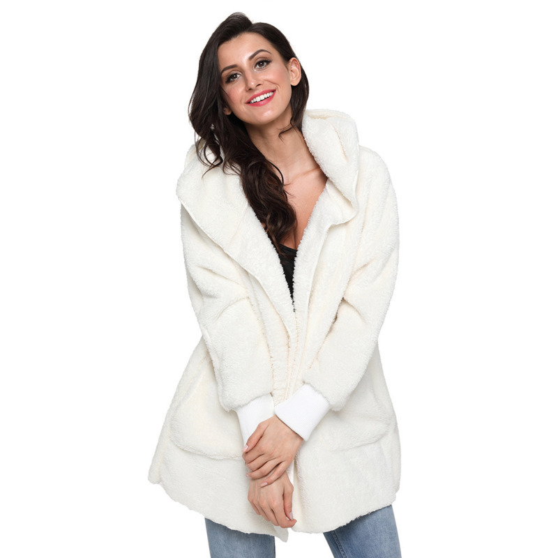 Autumn Winter Womens Hooded Long-sleeved Plush Cardigan Warm Fashion Jacket Casual Coats Outerwear Tops Plus Size Clothes 6Color