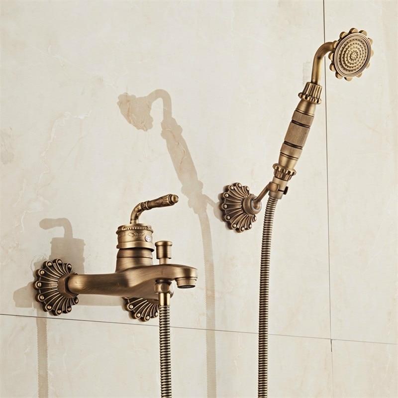 สไตล์ยุโรปโบราณ Retro ห้องน้ำก๊อกน้ำทองแดงทองเหลืองหรูหราชุดฝักบัวมือโบราณอ่างอาบน้ำ Crane-ใน ก๊อกน้ำอาบน้ำ จาก การปรับปรุงบ้าน บน AliExpress - 11.11_สิบเอ็ด สิบเอ็ดวันคนโสด 1