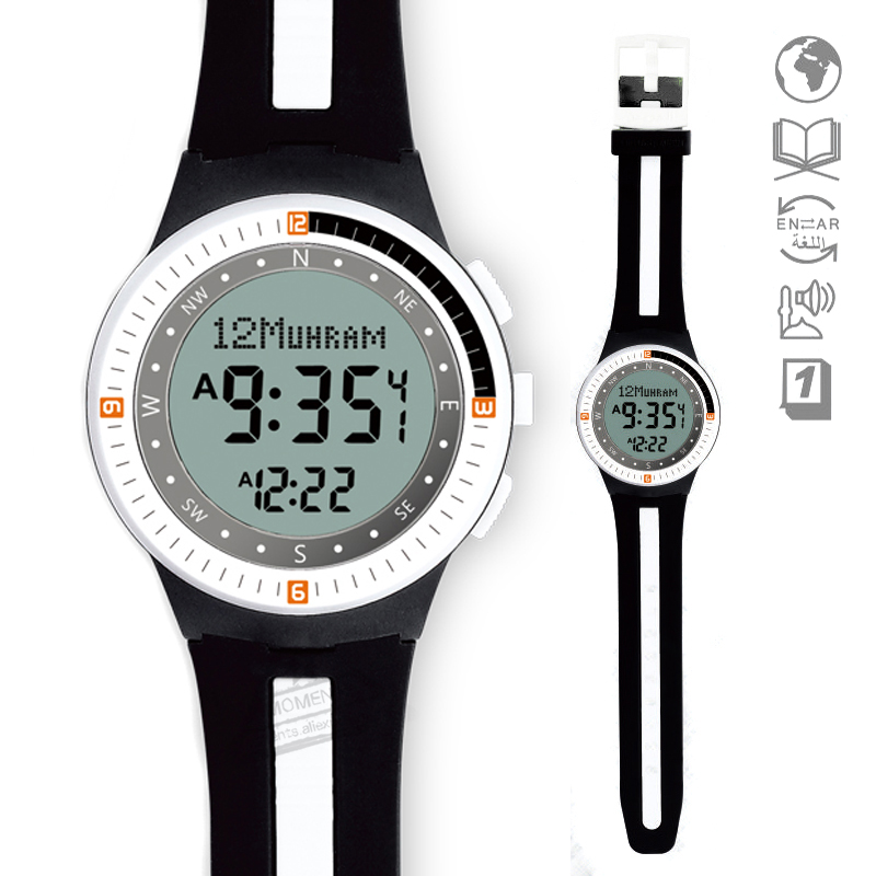 Watches 2 Pcs New Qibla Watch With Adhan Alfajr Time 30mm Waterproof Azan Clock For Sport Watch For Muslim Islam Gift Le Sport Montre 50% OFF Men's Watches