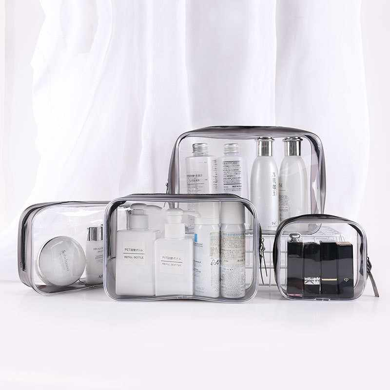 Multifunctional Transparent Cosmetic Storage Bag Waterproof Clear Toiletry Organizer Dual Zipper Makeup Pouch