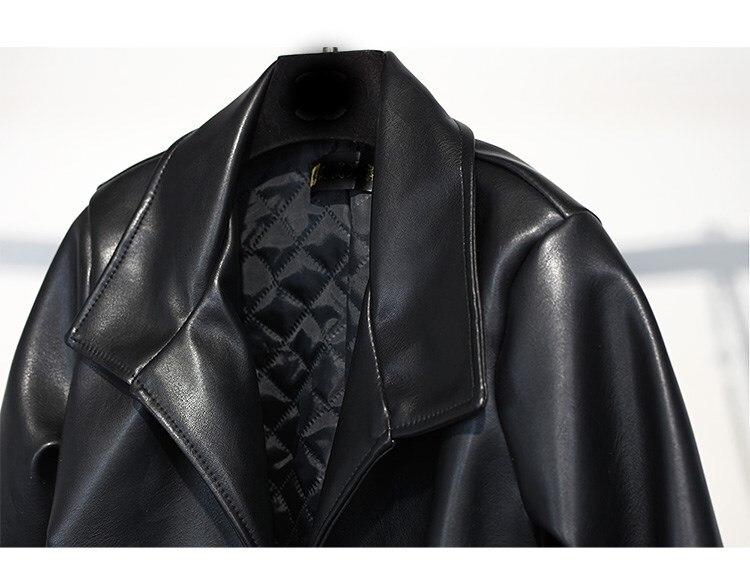 Femelle Fausse Nouvelle Pu Veste Manteau 2018 Ardoisé Patchwork Noir Courte Cuir En Mode Longues Manches À De Fourrure 4Pzxpt