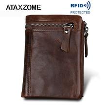 ATAXZOME 정품 가죽 지갑 남성용 짧은 동전 지갑 빈티지 브랜드 Anti magnetic RFID 지갑 천연 소 가죽 남성용 선물 W3580