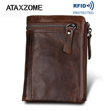ATAXZOME Genuine Leather Wallet Mens Short Coin Purse Vintage Brand Anti magnetic RFID Wallets Natural Cowhide Mens Gift W3580