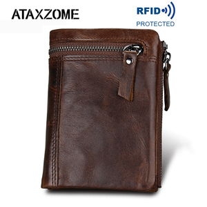 Image 1 - ATAXZOME Genuine Leather Wallet Mens Short Coin Purse Vintage Brand Anti magnetic RFID Wallets Natural Cowhide Mens Gift W3580