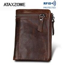 ATAXZOME hakiki deri cüzdan erkek kısa bozuk para cüzdanı Vintage marka anti manyetik RFID cüzdan doğal inek derisi erkek hediye W3580