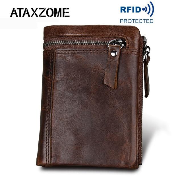Ataxzome本革財布メンズショートコイン財布ヴィンテージブランド耐磁rfid財布ナチュラル牛革メンズギフトW3580