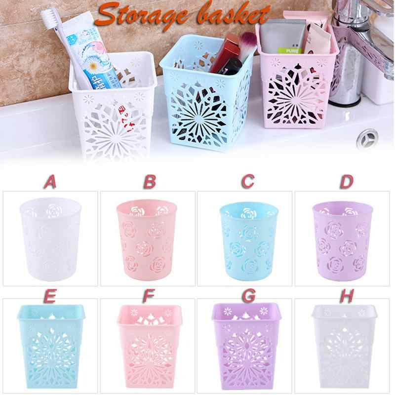 Plastic Candy Color Rose Hollow Pen Stationery Container Pencil Holder Makeup Brush Holder Office Desktop Sundries Organizer