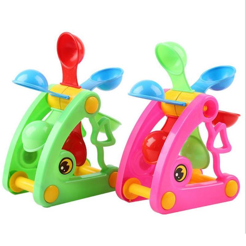 Multi-color Plastic Cartoon Windmill Waterwheel Beach Sand Toys Children Water Fun Spraying Beach Play Sand Toy