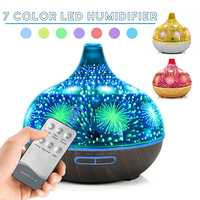 3D Glass Humidifier 400ml Remote Control Aromatherapy Ultrasonic Essential Oil Diffuser Air Diffuser 7 Color LED Night Light