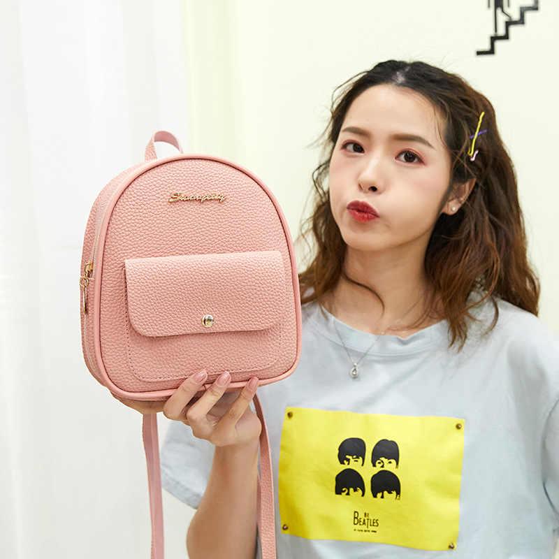 حقيبة ظهر صغيرة حقيبة الكتف للسيدات من جلد بلوتونيوم للمراهقات الاطفال متعددة وظيفة صغيرة Bagpack الإناث السيدات حقيبة المدرسة