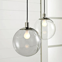 Moderne Led Anhänger Lichter Glas Ball Suspension Lampe Leuchte Transparent Glas Schatten Hanglamp De Küche Home Innen Beleuchtung-in Pendelleuchten aus Licht & Beleuchtung bei