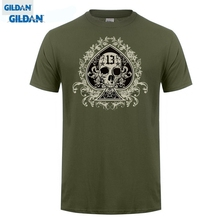 GILDAN  Hot sale Mens 100% Cotton Short Sleeve Print T-Shirt Male Hipster Tops As de Pique & Skull Fashion Men Tshirt