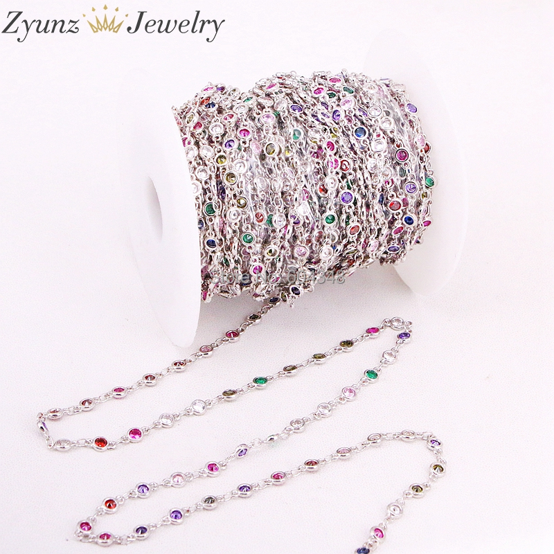 Fine Colorful Crystal Linked Rosary Chain sold by 3 Feet CHOOSE COLOR!