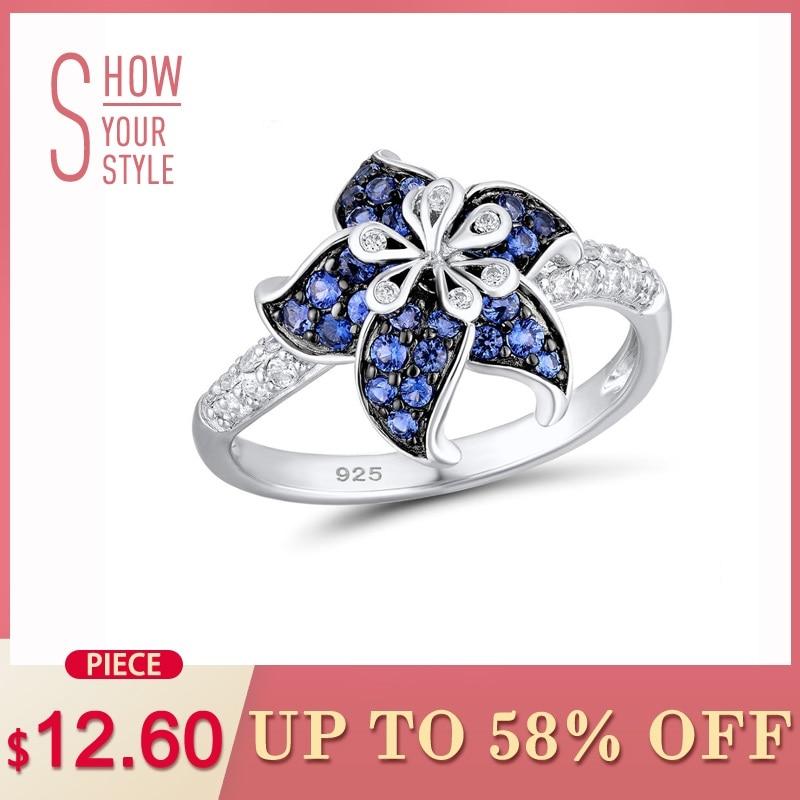 100% Wahr Santuzza Silber Blume Ring Für Frauen 925 Sterling Silber Blühende Blume Blau Weiß Zirkonia Exquisite Ring Partei Schmuck Einen Effekt In Richtung Klare Sicht Erzeugen