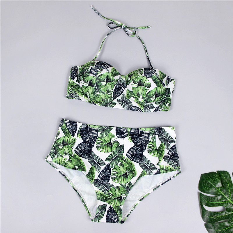 Retro Stretch High Waist Bikini Classical Halter Separate Swimsuit Modest Lace Up Floral Printed Swimwear Large Size Brazilian in Bikinis Set from Sports Entertainment