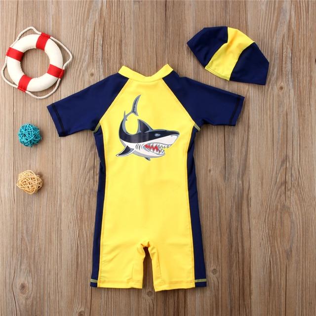 bed0fdd9a8 Blue shark One Piece Swimsuit Boys Swimwear Short Sleeve Cartoon Children  Bathing Suit for Baby Boys