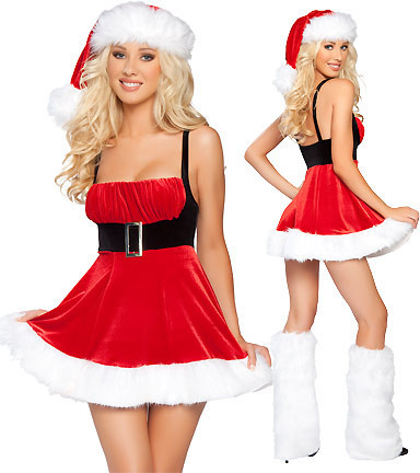 Sexy Ladies Red Mini Dress Miss Santa Claus Outfit Christmas Party Fancy Dress
