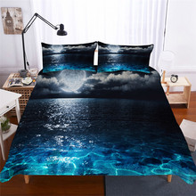 طقم سرير ثلاثية الأبعاد غطاء لحاف مطبوع طقم سرير موجة البحر المنسوجات المنزلية للكبار نابض بالحياة مفارش السرير مع المخدة # HL06