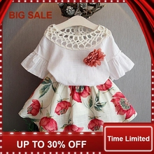 2017 Summer Fashion Style New Girls Clothing Sets Kids Wear Flower + Skirts Children Simple Suits Clothes все цены