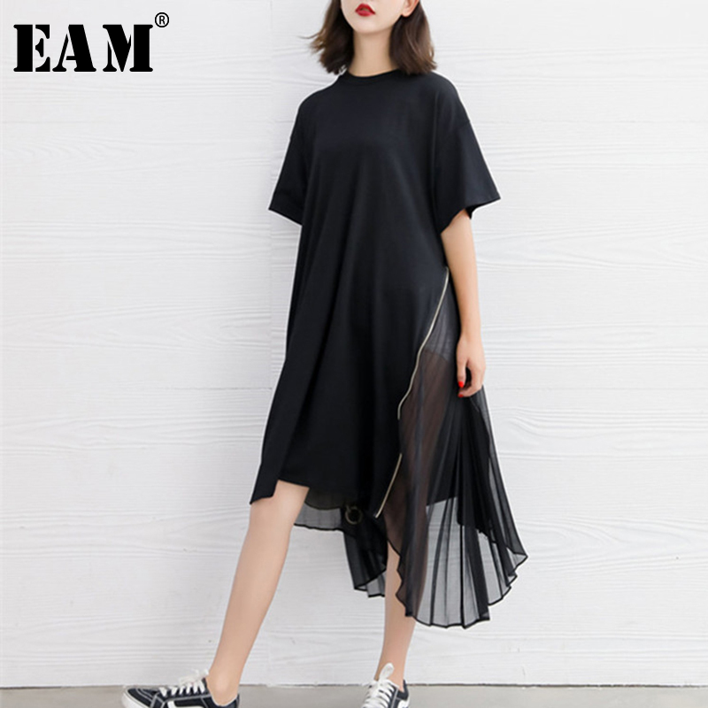 [EAM] 2020 Spring Summer Woman New Black Color Short Sleeve O-neck Long Loose Spliced Pleated Chiffon Irregular Dress LI435