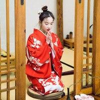 Japanese Kimono Traditional Dress Cosplay Female Yukata Women Haori Japan Geisha Costume Butterfly Obi Kimonos Woman H9005