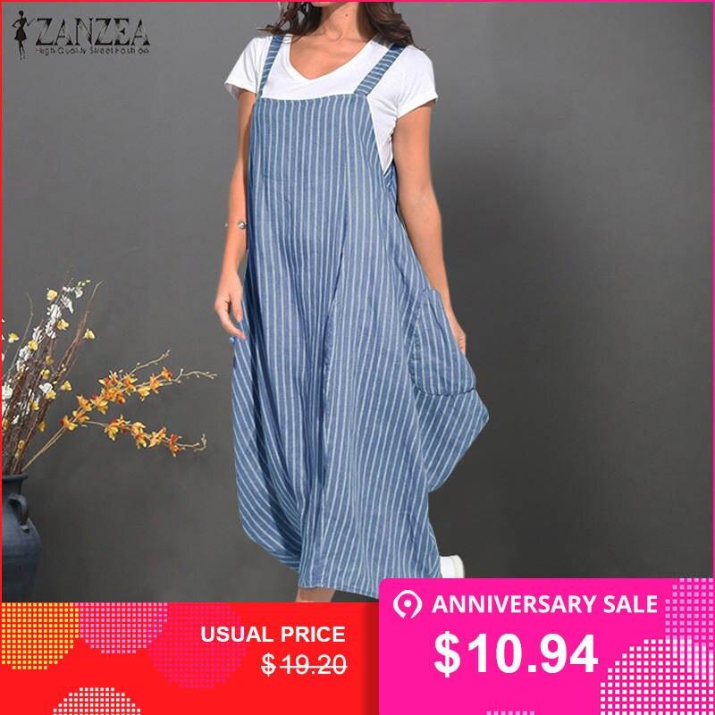 2a1acd38264 Платье для женщин в полоску Boho платья для ZANZEA Лето 2019 г. без рукавов  длиной макси Vestidos дамы хлопок белье Сарафан большого размера Халат