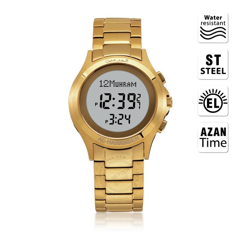 Men's Watches Careful Muslim Man Watch With Qibla Direction And Hijri Islam Men Wristwatch With Prayer Alarm Azan Clock With English Arabic Leatherbox Digital Watches
