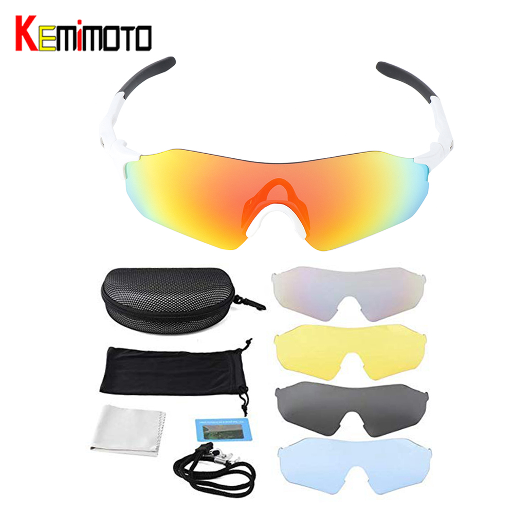 Motorcycle Biker Riding Sunglasses Sport Cycling UV400 W// 4 Lens Goggles Glasses