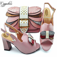 Latest Summer Woman Shoes And Bags To Match Set African Style High Heels Pink Shoes And Bags For Party Free Shipping YM007