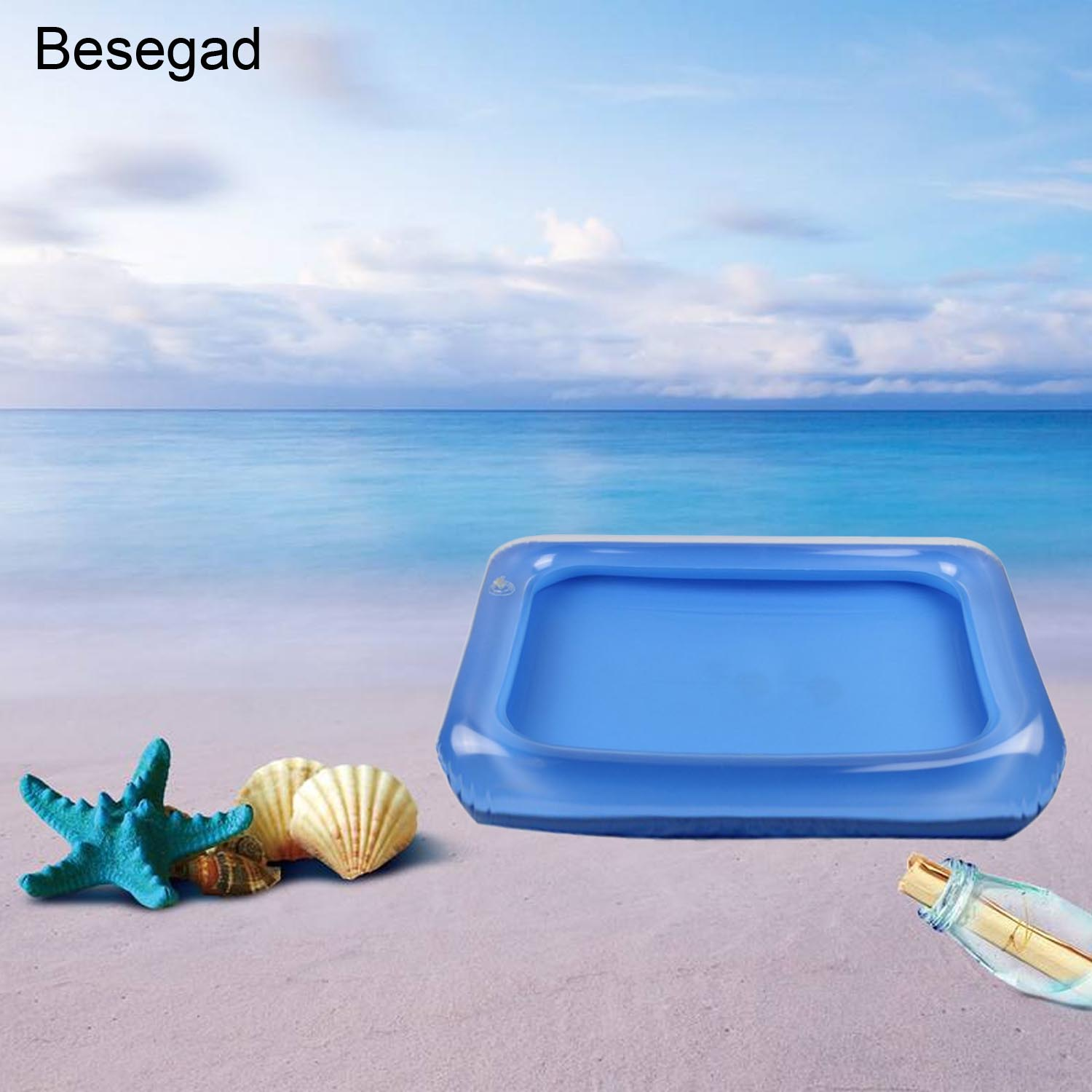Besegad Child Beach Toy Portable Inflatable Sandbox Moldable Play Sand Tray For Kids Baby Children Playing Sand Toy Random Color