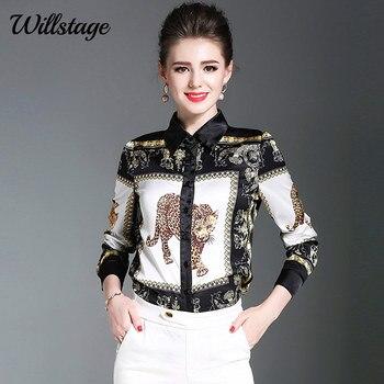Willstage 2019 primavera mujeres blusas de gasa estampado de leopardo Animal novedad Oficina señoras camisas de trabajo Chothing Tops 2XL