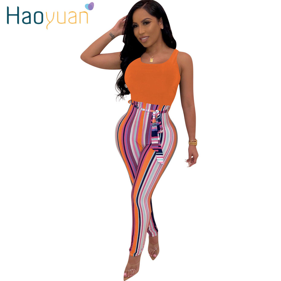 HAOYUAN Striped Bandage Rompers Womens   Jumpsuit   Streetwear Summer Overalls Ladies One Piece Body Mujer Sexy Bodycon   Jumpsuit