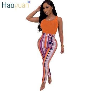 a542216cada7 HAOYUAN rayas venda prendas para Mujer mono verano Streetwear de Damas una  pieza cuerpo Mujer Sexy