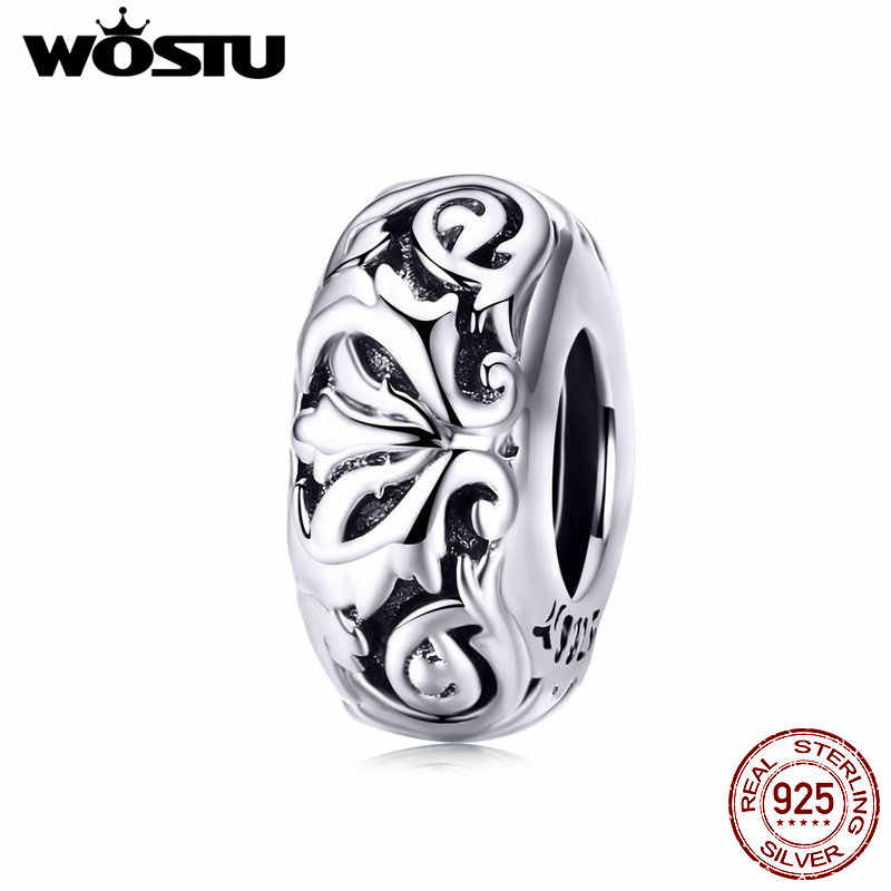 WOSTU 2019 European Flower Bead 925 Sterling Silver Charms Fit Original Bracelet Pendant DIY Jewelry Beads Accessories CQC1139