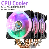 Dual Tower CPU Cooler 4 Heat Pipes 90mm RGB Fan for CPU Cooling Fan Cooler for Intel 775/1150/1151/1155/1156/1366 For AMD All