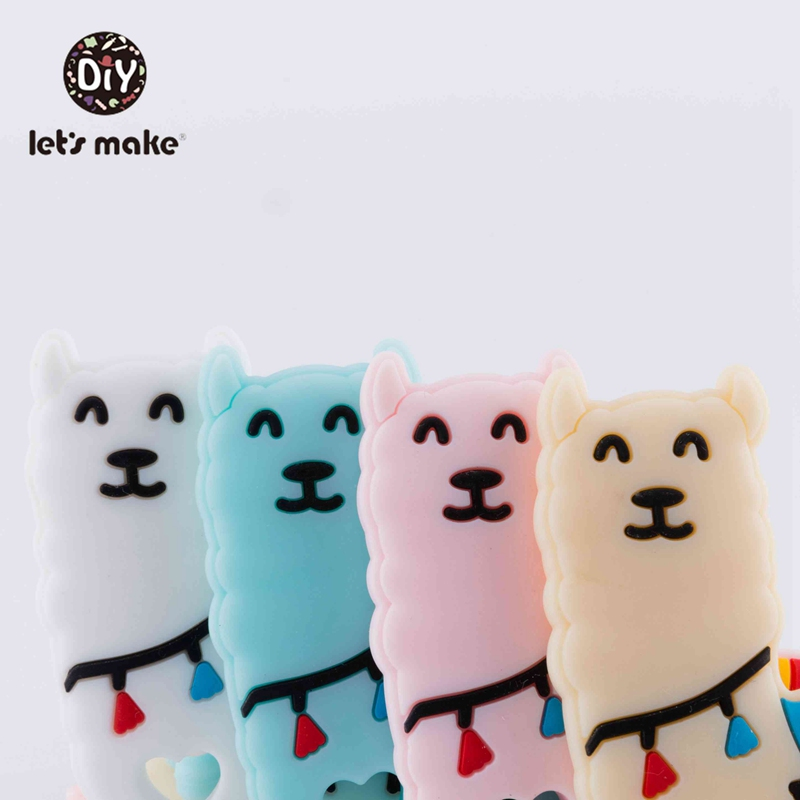 Let's make Silicone Teether Alpacas 10pcs Silicone Pendant Teether Baby Silicone Teethers Bpa Free Baby Silicone Teether Cartoon