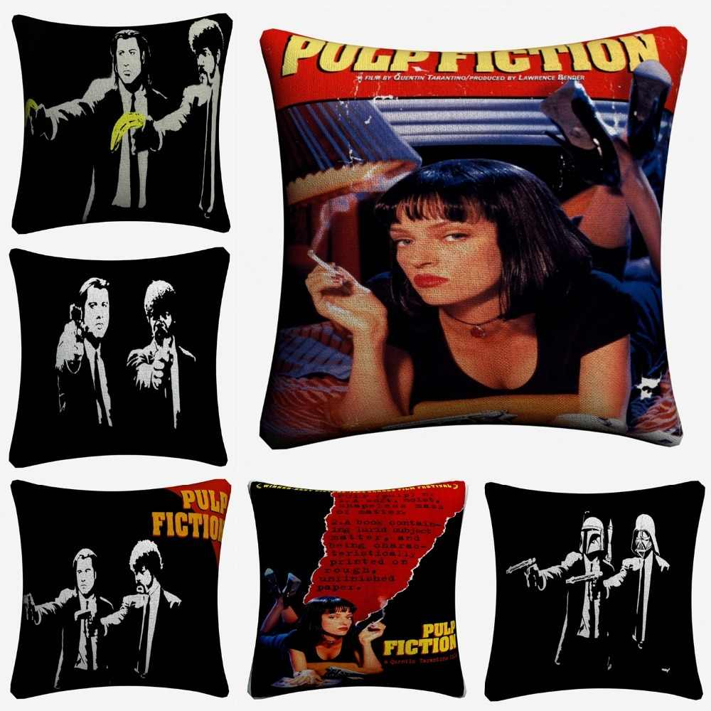 Pulp Fiction Vintage Movie Decorative Cotton Linen Cushion Cover 45x45cm For Sofa Chair Throw Pillow Case Home Decor Almofada