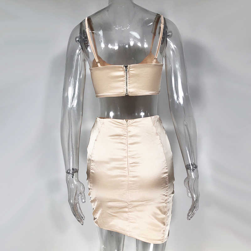 NewAsia Garten 2 Schichten Frauen Sommer Kleid Zwei Stück Satin Mini Kleid Rosa Spaghetti-trägern Bodycon Kleid Party Club Kleider neue