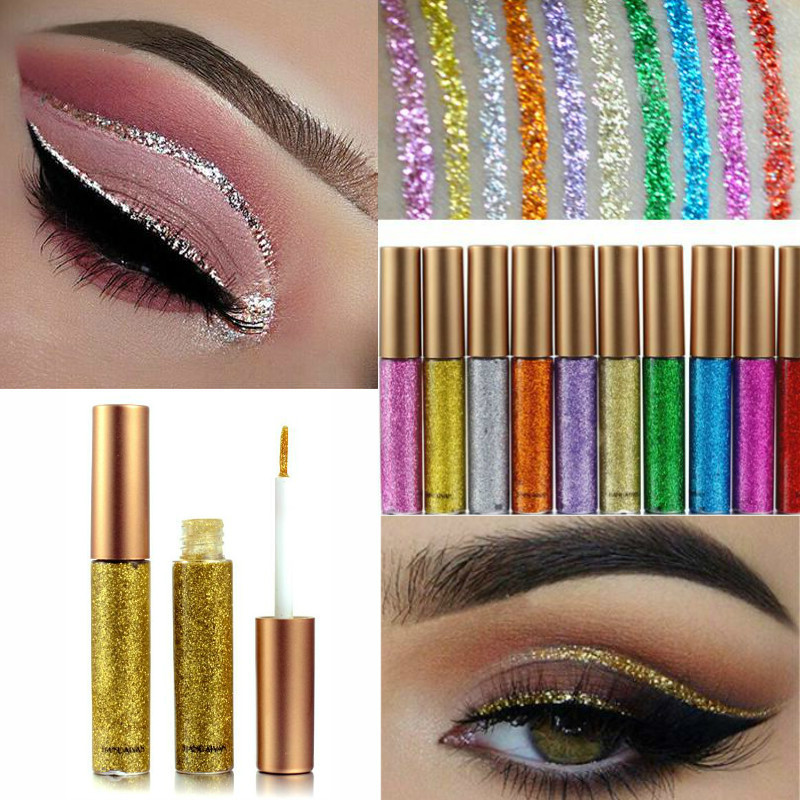 HANDAIYAN Liquid Glitter Eyeliner Red White Gold Eyeliner Glitter Pigment Makeup Waterproof Shimmer Eye Liner Brand New 10 Color