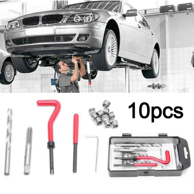 15pcs/set Helicoil Thread Repair Kit M10x1.0/1.25/1.5 w/10 Wire Thread Inserts for Vehicle Maintenance Tire Repair Tools
