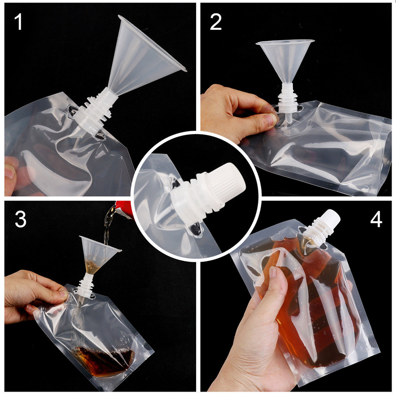 Plastic Spout Pouch Juice Stand-up Wine Liquid Beverage Flask BPA Free Storage Water Bags Funnel Camp Hiking Cooking Supplies