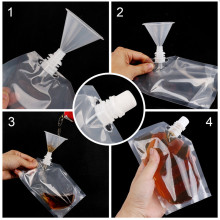 Plastic Spout Pouch Juice Stand-up Wine Liquid Beverage Flask BPA Free Storage Water Bags Funnel Camp Hiking Cooking Supplies(China)