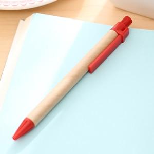 Image 3 - 100 adet/grup Mavi Mürekkep Eko Kağıt Kalem Plastik Klip Yeşil Kağıt Kalem Çevre Dostu Tükenmez Kalem Toptan Hediye Kalem