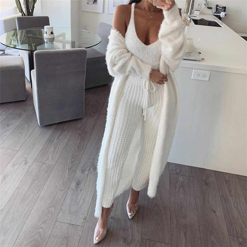 93be969f70ff30 ... BOOFEENAA Cute Sexy Fuzzy White Crop Top Cami Women Casual Tops Deep V  Neck Backless Fluffy ...