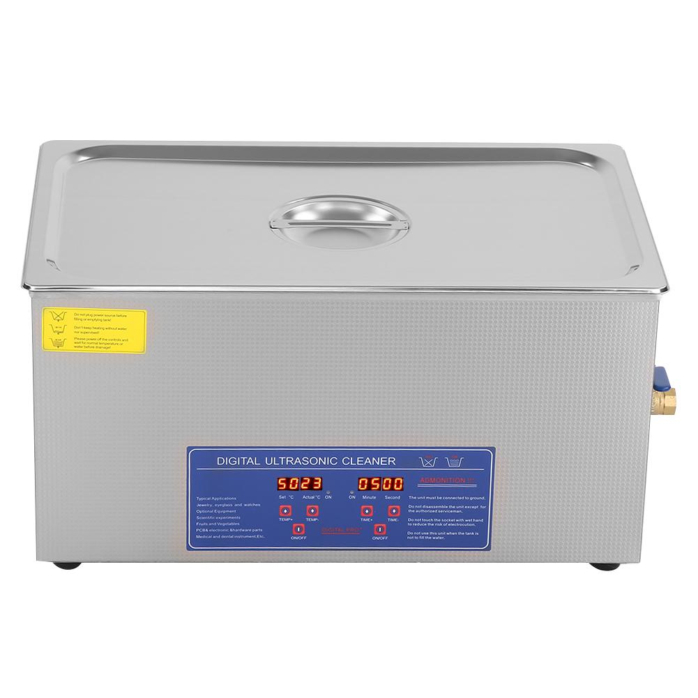 480W 22L Ultrasonic Jewelry Cleaner with Knob Control Timer Heater Stainless Baskets for Ring Glasses Tooth