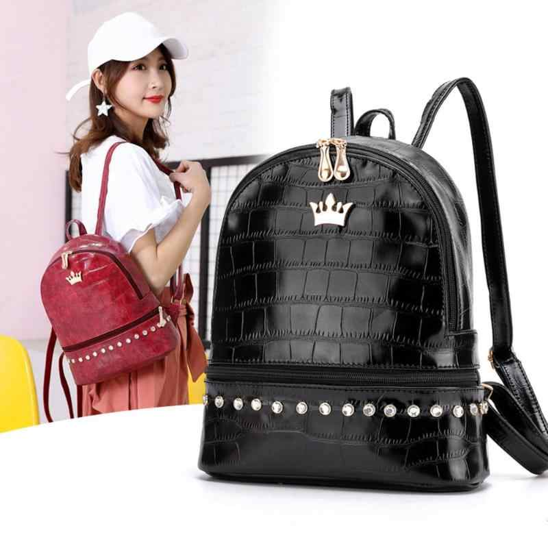 Simple Women Backpack PU Leather Diamonds Crown Fashion Rhinestone High Quality Travel School Bag for Teenager Girls