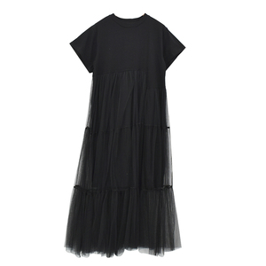Image 5 - [Gutu] أزياء الصيف الجديدة 2017 حجم كبير أسود خياطة صافي الغزل جولة طوق قصير كم حجم كبير فضفاض ثوب المرأة 3361.5XL