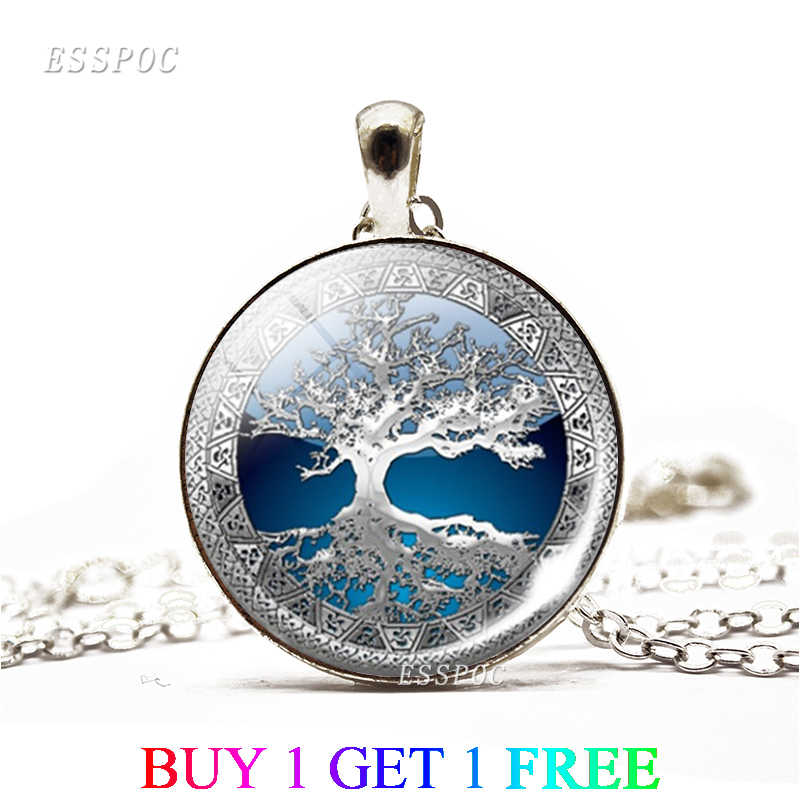 2PCS/LOT Tree of Life Art Photo Glass Cabochon Jewelry Necklace Women Fashion Necklace Tree of Life Pendant Valentines Gifts