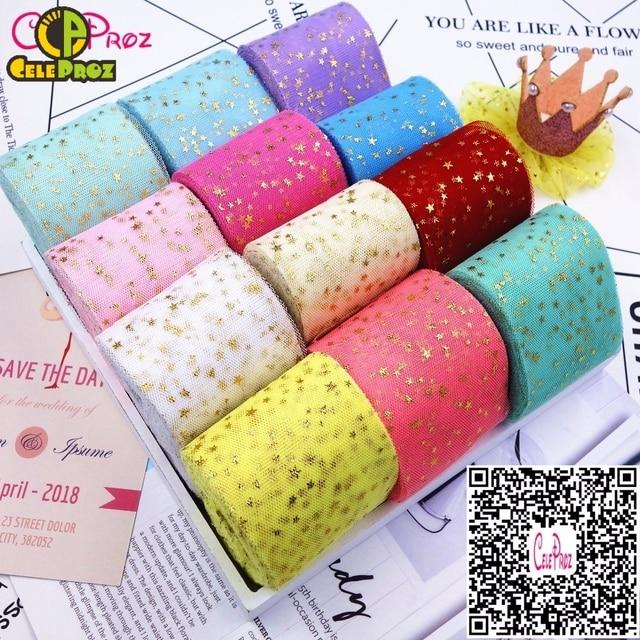 25 Yards 6 cm Sao Tulle Confetti Glitter Tulle Baking Cake Topper Tutu Pom Pom Bow Mềm Squine Tulle Đám Cưới TỰ LÀM sinh nhật Trang Trí