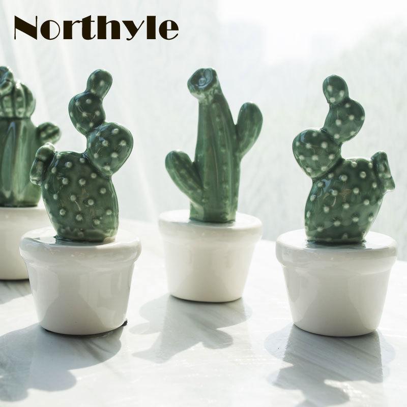 Genuine Northyle BS179236 Ceramic potted cactus miniatures fairy plant figurine porcelain home decoration accessories